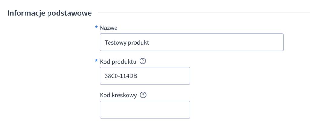 Kod produktu w Shoper