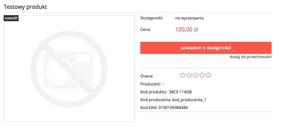 Karta produktu Shoper - kod producenta, EAN
